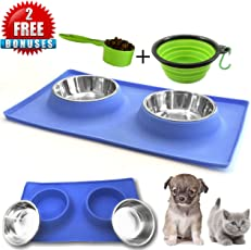 MCBInfinity Small Dog Bowls- Newly Redesigned RECTANGLE Catch-All Non-Skid No Spill Silicone Mat, 2x12oz Stainless Steel Bowl+ BONUS Pet Food Scoop And Collapsible Bowl Best For Puppy,Small Dogs, Cats