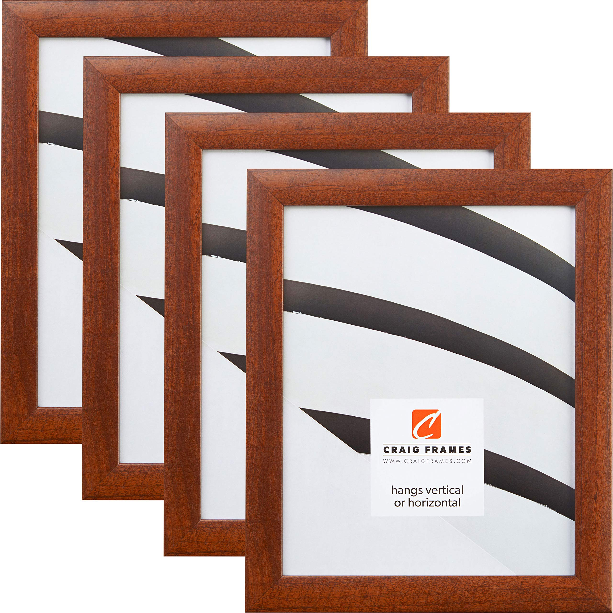 Craig Frames 23247616 8 x 10 Inch Picture Frame, Walnut Brown, Set of 4 by Craig Frames
