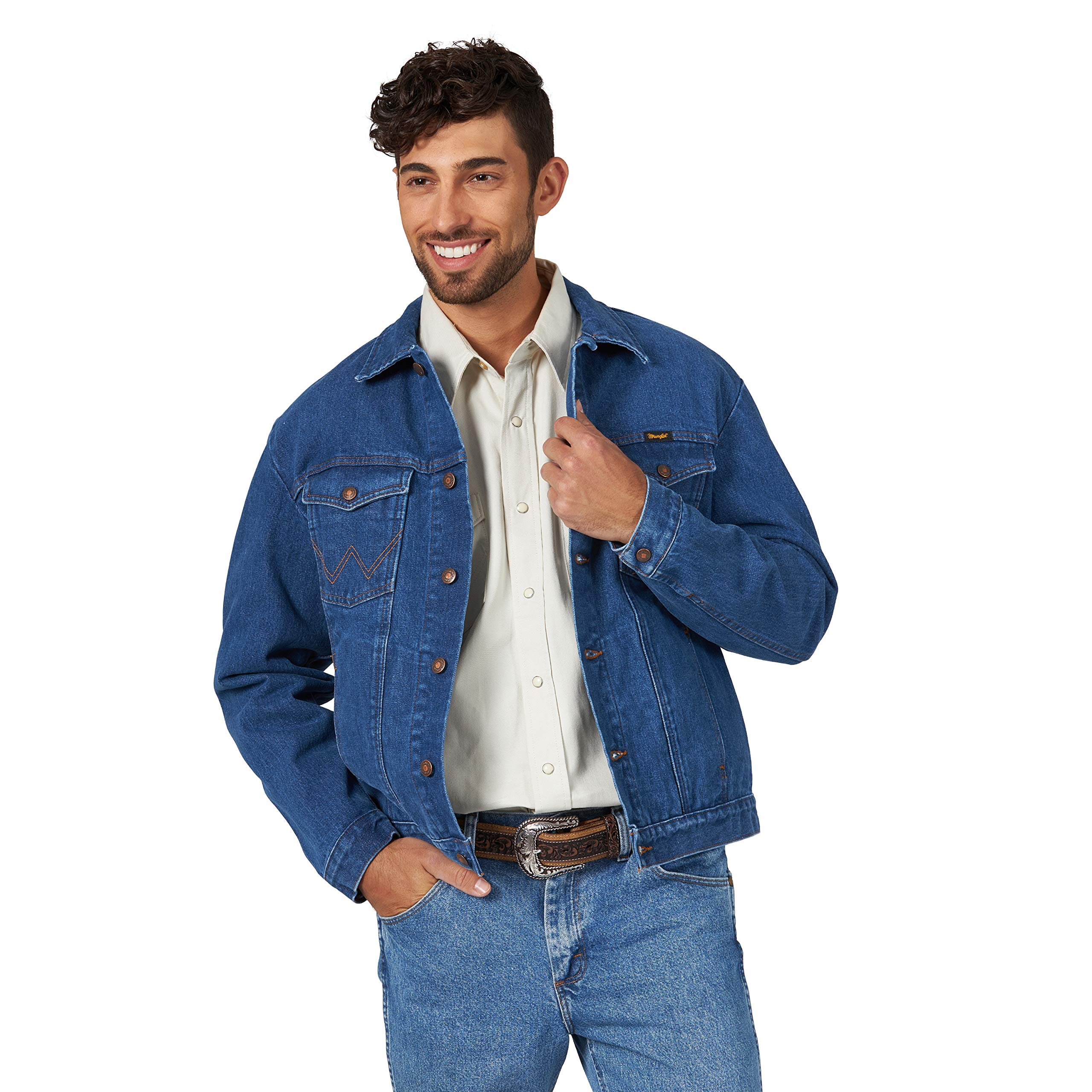 Wrangler Men's Western Style Unlined Denim Jacket, Midstone, Large Tall by Wrangler