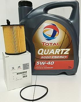 PACK Total Quartz 9000 Energy 5W-40 5 lts + Filtro Aceite Original motor 1.6HDi (1109.AY): Amazon.es: Coche y moto