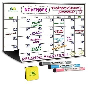 """16/""""x12/"""" Magnetische Kühlschrank Kalender Memo Trocken löschen White Board"""