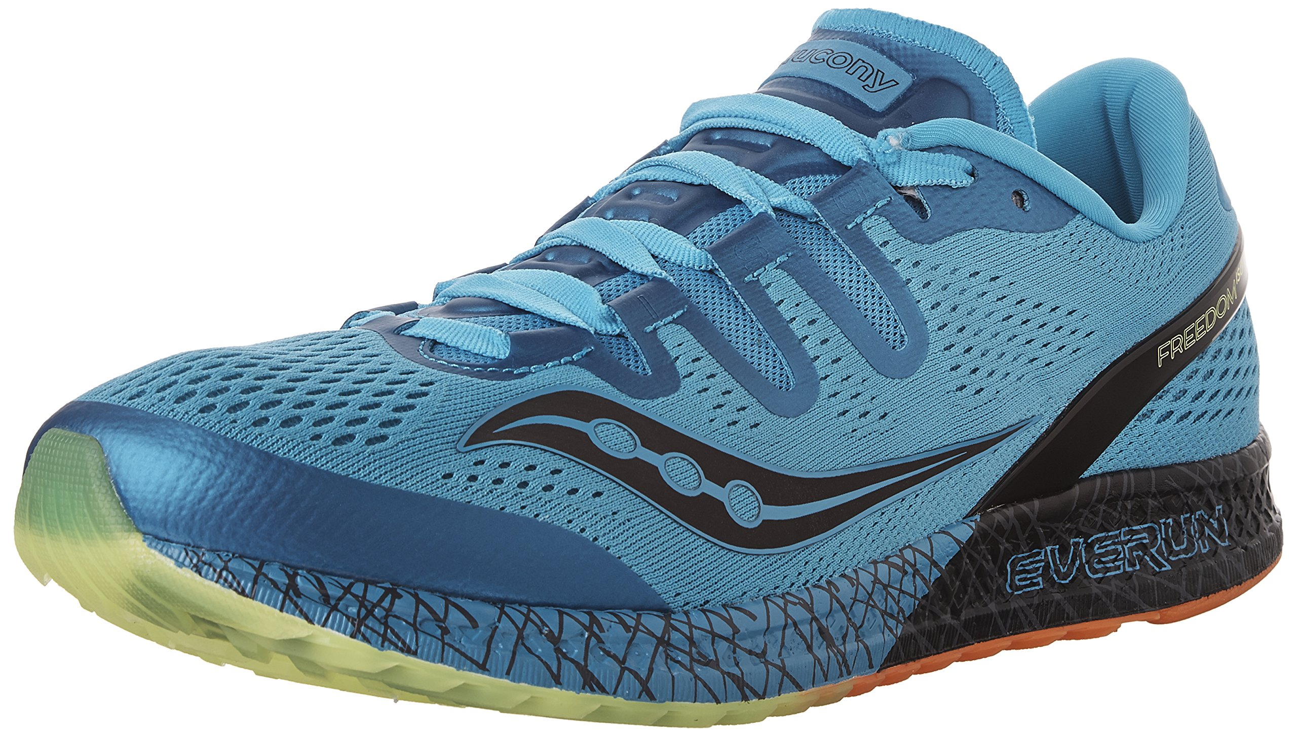 Saucony Men's Freedom ISO Running Shoe, Blue/Black/Citron, 10 M US by Saucony