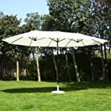Outsunny 15' Outdoor Patio Market Double-Sided Umbrella - Cream White and Brown