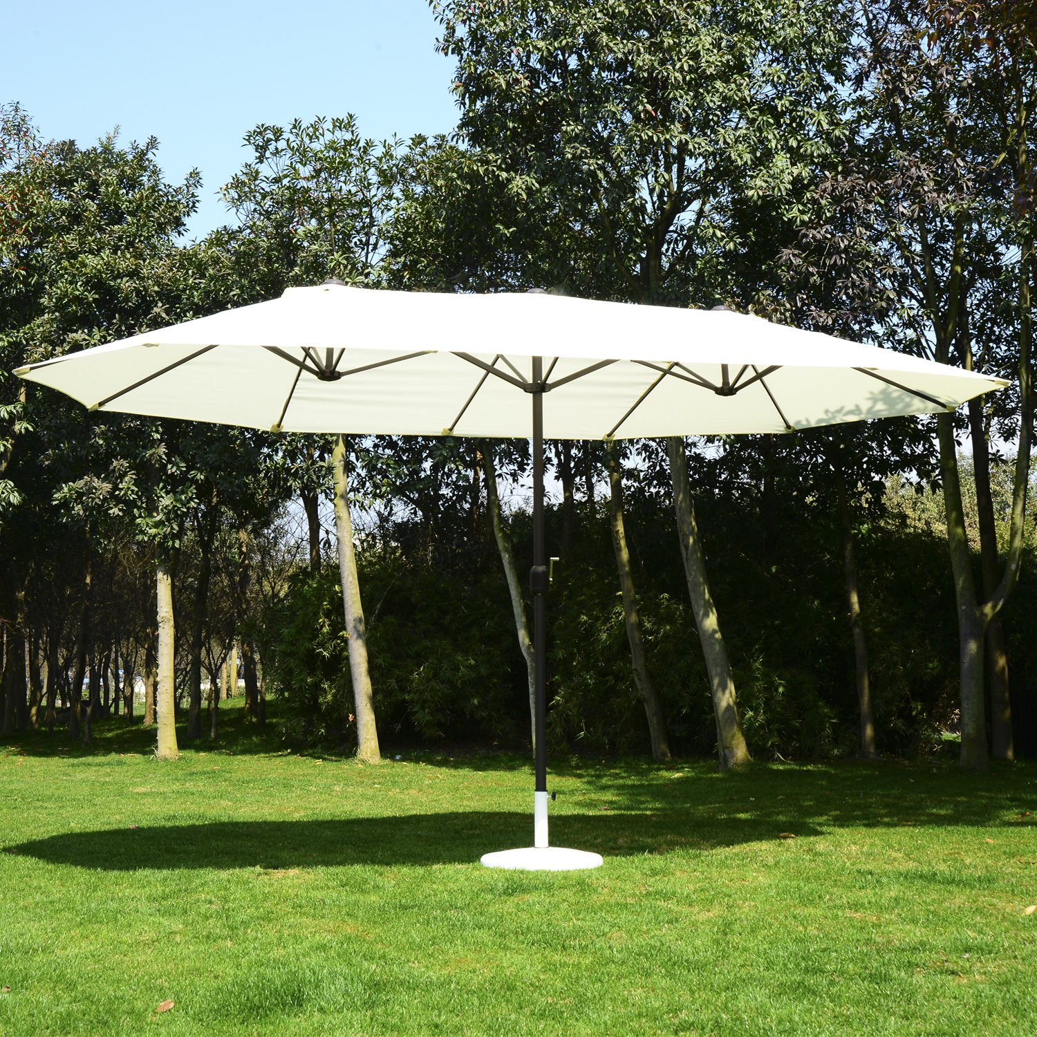 Outsunny 15u0027 Outdoor Patio Market Double Sided Umbrella   Cream White And  Brown