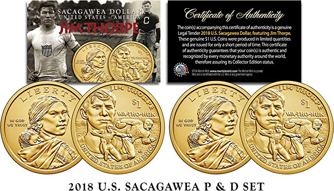 2018 D Sacagawea Dollar Roll Jim Thorpe Native American Mint Roll Uncirculated