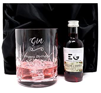 Engraved//Personalised *Gin Design* Dimple Highball Glass /& Miniature Bottle of Boe Violet Gin