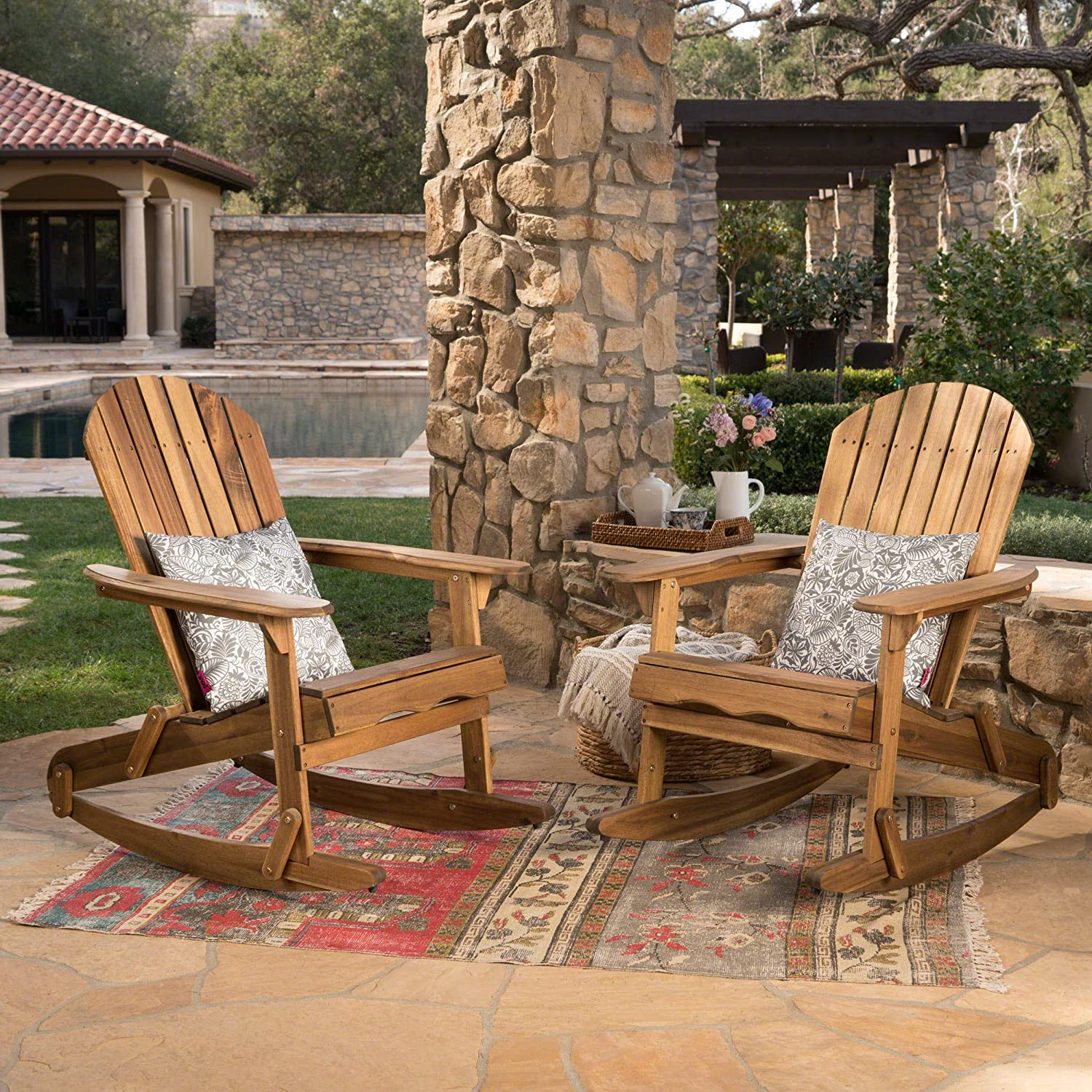 Christopher Knight Home 304055 Estelle Outdoor Finish Acacia Wood Adirondack Rocking Chairs Set of 2 , Natural Stained