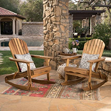 Brilliant Christopher Knight Home 304055 Estelle Outdoor Finish Acacia Wood Adirondack Rocking Chairs Set Of 2 Natural Stained Pdpeps Interior Chair Design Pdpepsorg