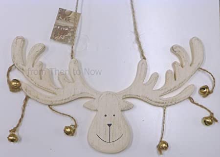 Pleasing Chic Shabby Reindeer Moose Head Christmas Decoration With Bells Cream Download Free Architecture Designs Rallybritishbridgeorg