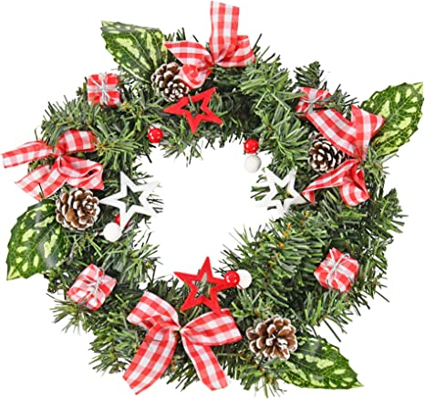 Pine Green Christmas Wreath with Ornaments and Icicles  Holiday Wreath  Christmas Wreath with Red Bow