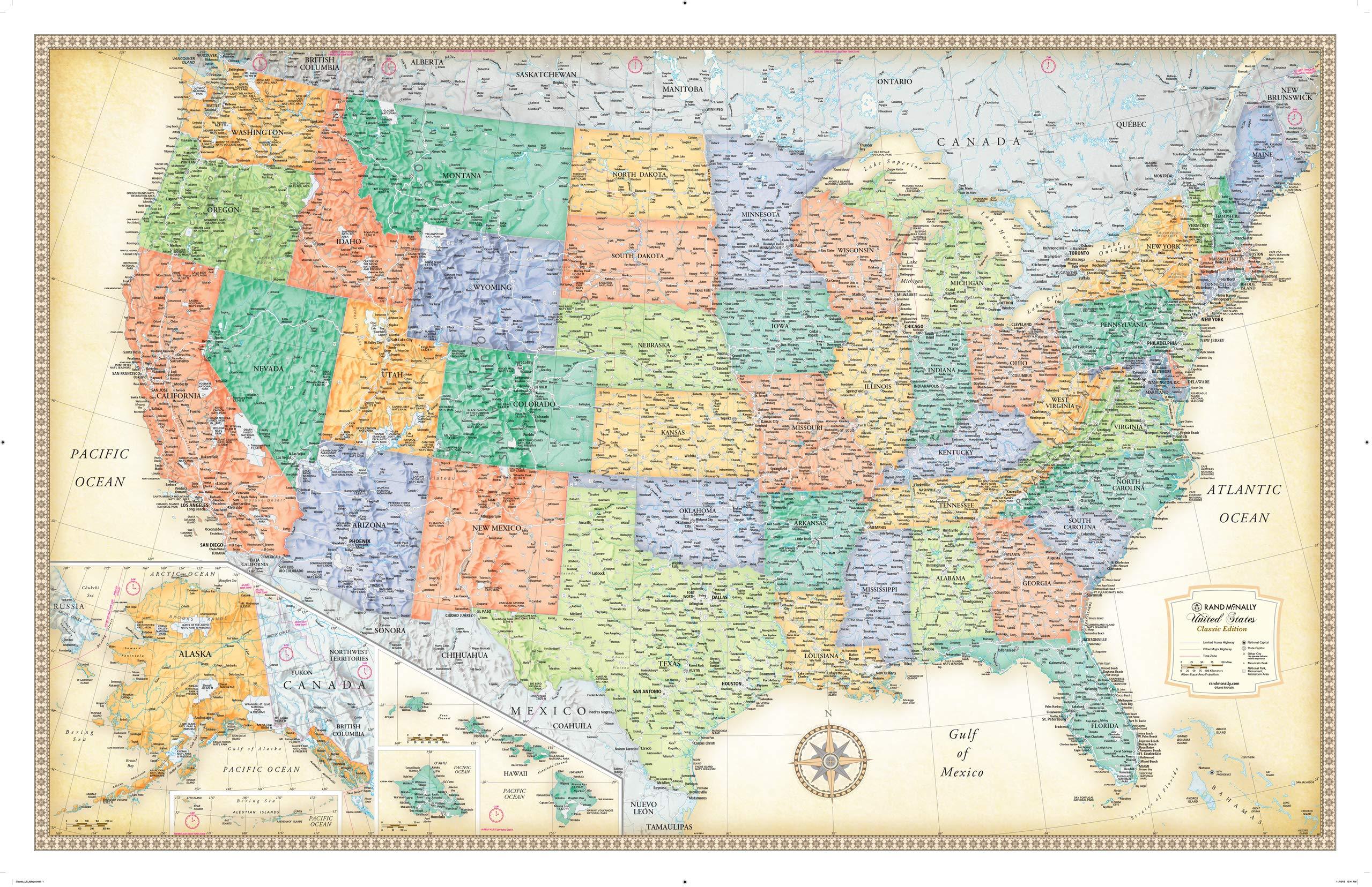 Rand Mcnally Classic United States Wall Map Rand Mcnally 9780528012785 Amazon Com Books