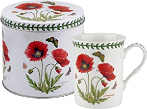 Botanic Garden Poppy Motif Mug and Tin Set, Porcelain, Multi-Colour, 13 x 13 x 11.5 cm