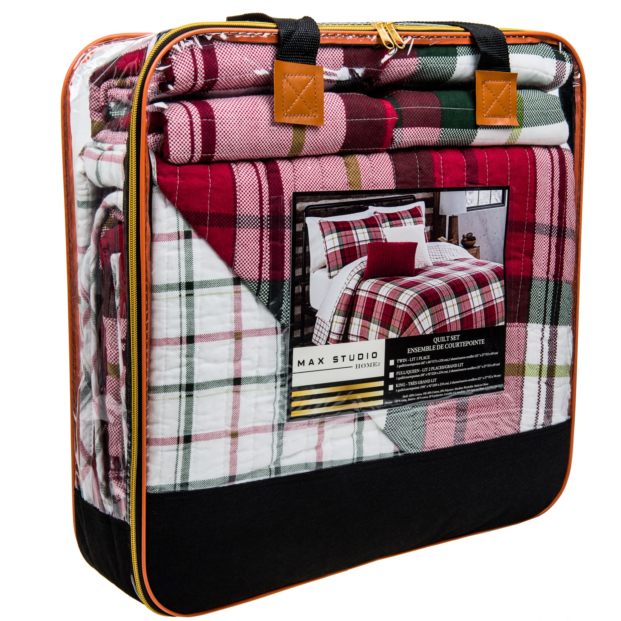 Max Studio QUEEN / FULL Christmas Plaid Reversible Cotton Quilt Set Red Green White
