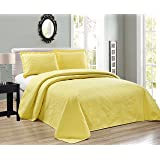 Elegant Home Beautiful Over Sized Yellow Solid Color Embossed Floral Striped 3 Piece Queen / Full Size Coverlet Bedspread (Queen / Full, Yellow)
