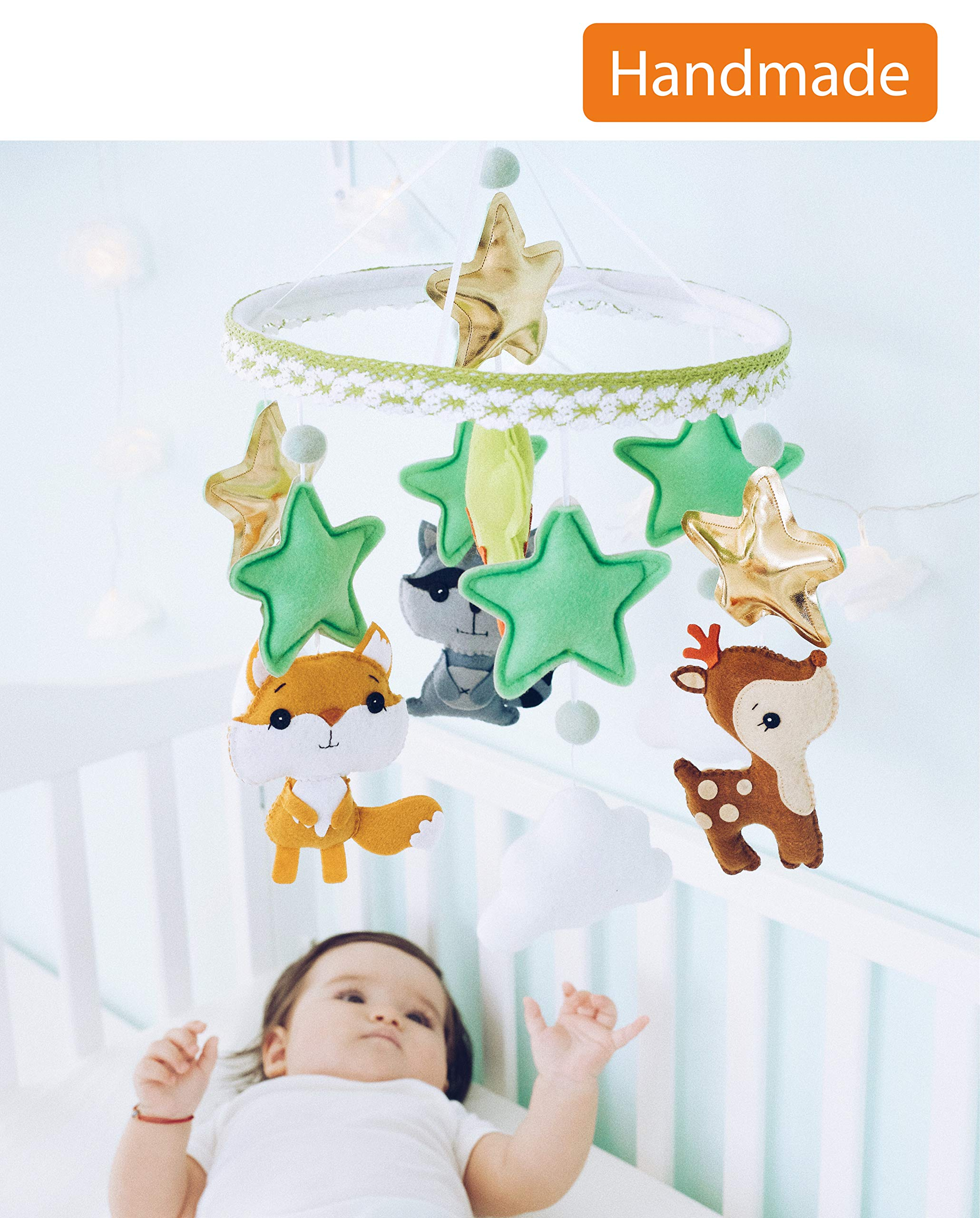 Baby Mobile Felt Nursery Crib Mobile Handmade Baby Shower Gift for Girl or Boy (Woodland)
