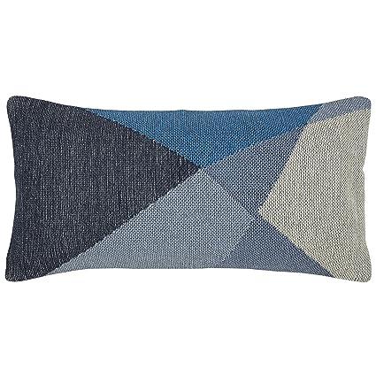 Rivet Modern Geometric Throw Pillow - 12 x 24 Inch, Blue