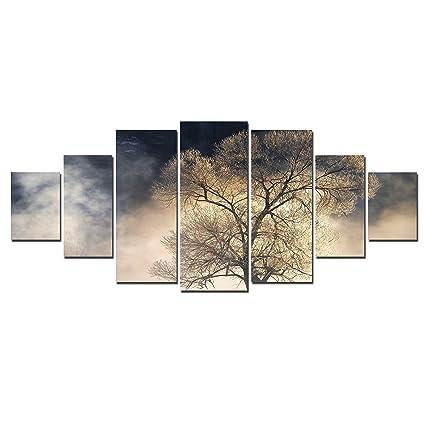 Startonight Huge Canvas Wall Art Mysterious Tree Usa Large Home Decor Dual View Surprise Artwork Modern Framed Wall Art Set Of 7 Panels Total 40 X