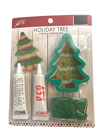 holiday tree cookie decorating kit includes cookie cutter white icing red icing