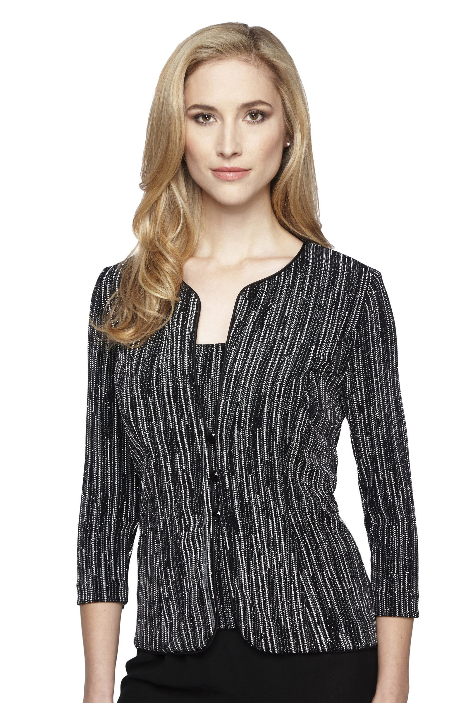 Alex Evenings Women's Printed 3/4 Sleeve Twinset L Black White by Alex Evenings