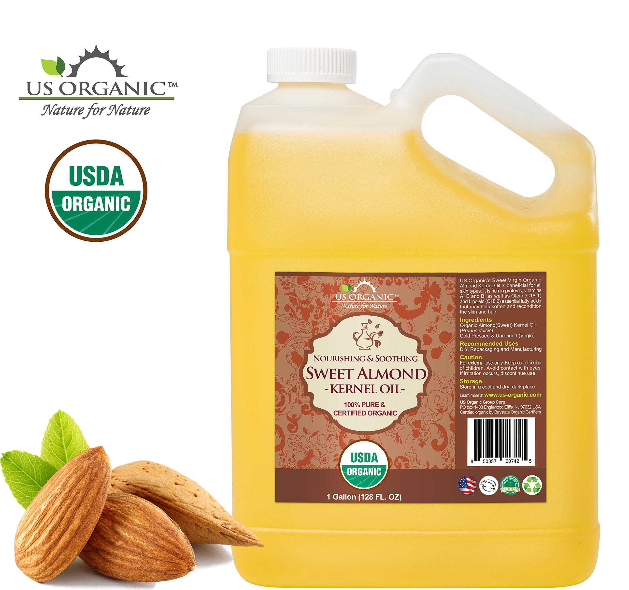 US Organic Sweet Almond Kernel Oil Bulk pack, USDA Certified Organic,100% Pure & Natural, Cold Pressed Virgin, Unrefined (128 oz (1 Gallon))