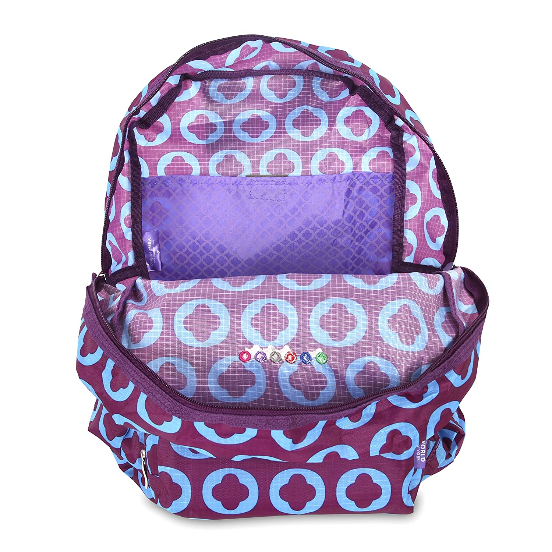 J World New York Womens Buena Folding Backpack Secret Garden One Size FG-01 SECRET GARDEN