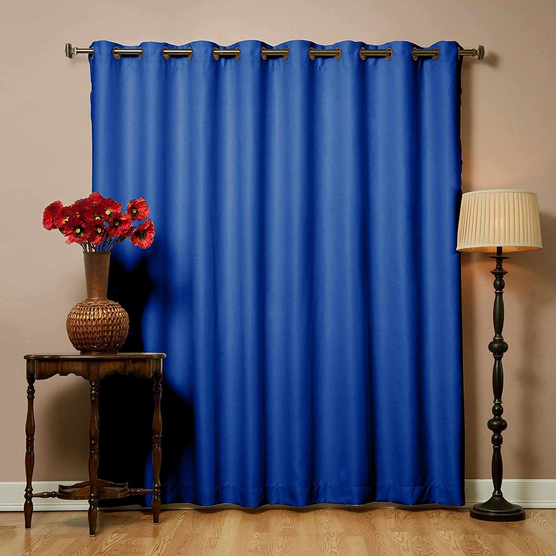 "Best Home Fashion Premium Royal Blue Wide Width Grommet Top Thermal Blackout Curtain 100"" W x 84"" L - 1 Panel"