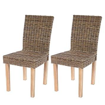 Lot de 2 chaises de s?jour Littau chaise en osier, rotin kubu ... Chaise S Jour on