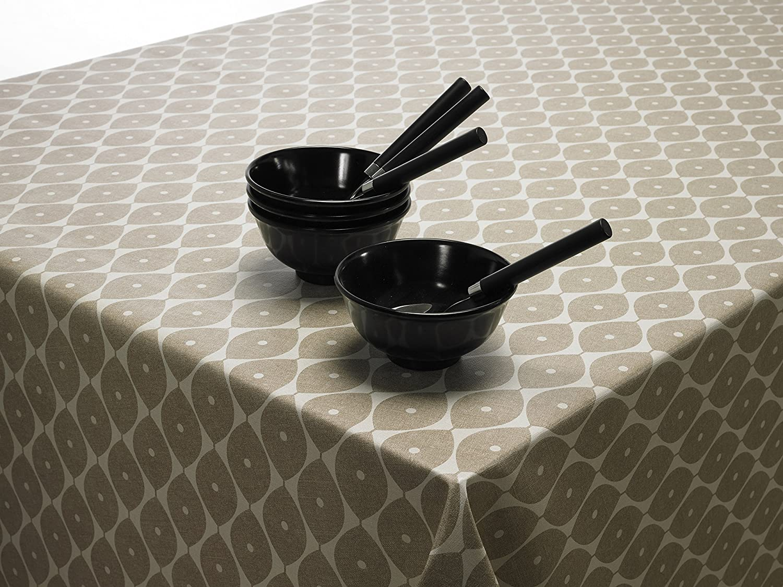 55 Taupe g/éom/étrique ovales en vinyle PVC en toile cir/ée facile /à nettoyer Nappe ronde carr/ée ou rectangulaire Round 140cm