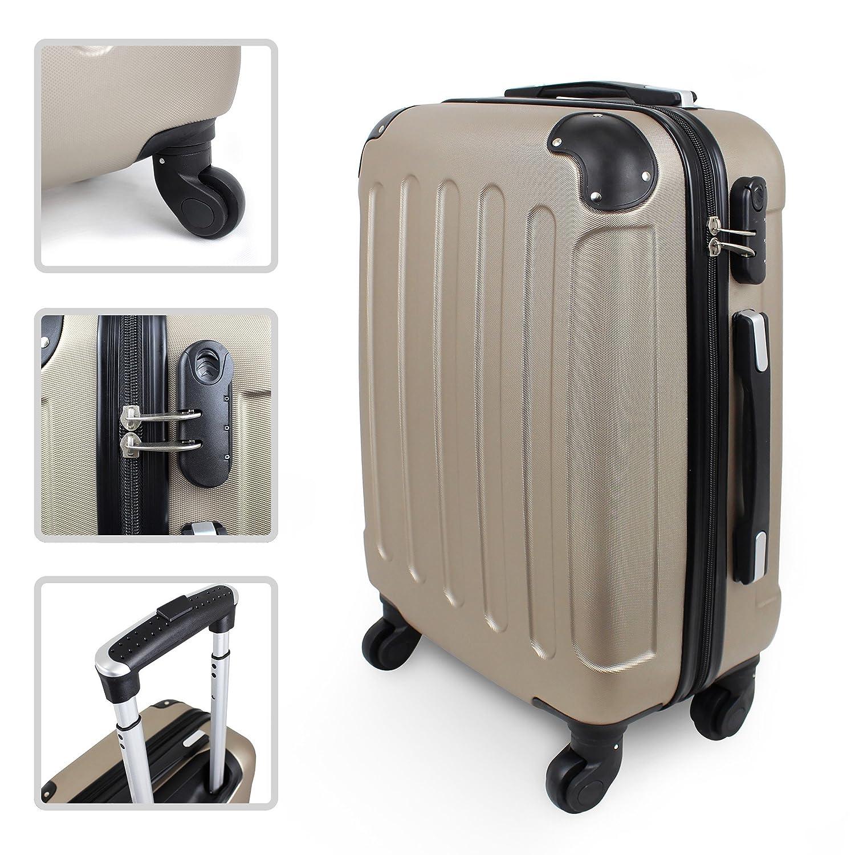 Todeco - Valise à Main, Bagage pour Cabine - Taille (roues incluses): 56 x 38 x 22 cm - Taille intérieure: 49 x 35 x 21 cm - Coins protégés, Bagage de cabine 51 cm, Champagne, ABS