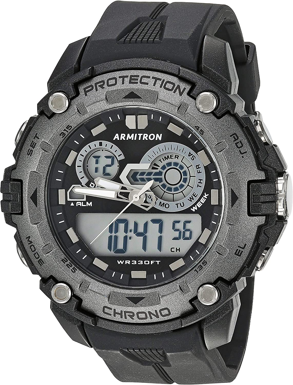 Armitron Sport Men s 20 5386GBK Analog-Digital Chronograph Black Resin Strap Watch