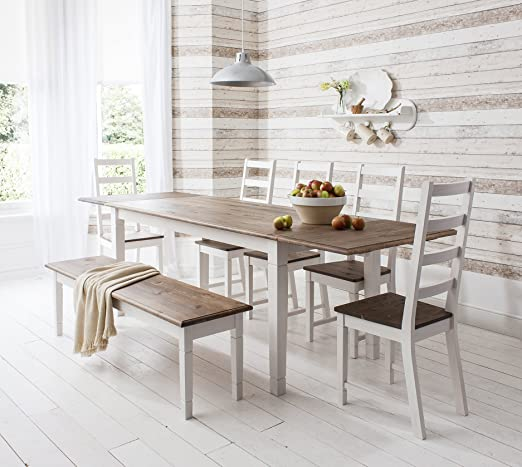 Conjunto de mesa de comedor extensible, 5 sillas y 1 banco, estilo ...