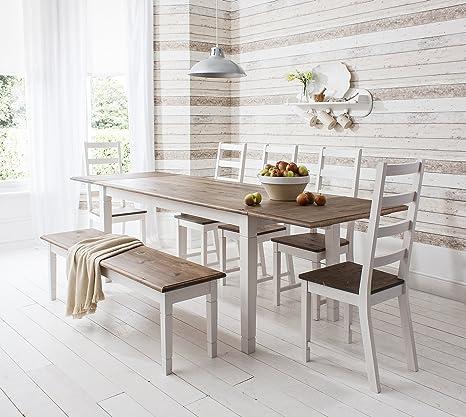 Conjunto de mesa de comedor extensible, 5 sillas y 1 banco ...