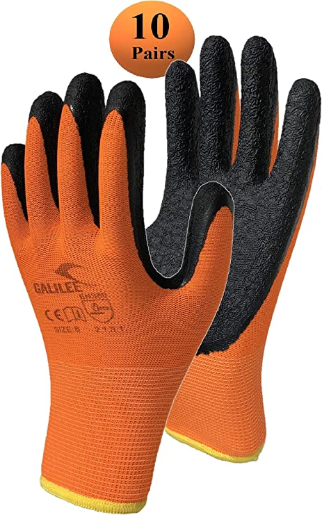 YELLOW DIY WORK GLOVES SAFETY ROUGH LATEX PROTECTION BREATHABLE GRIP BLACK