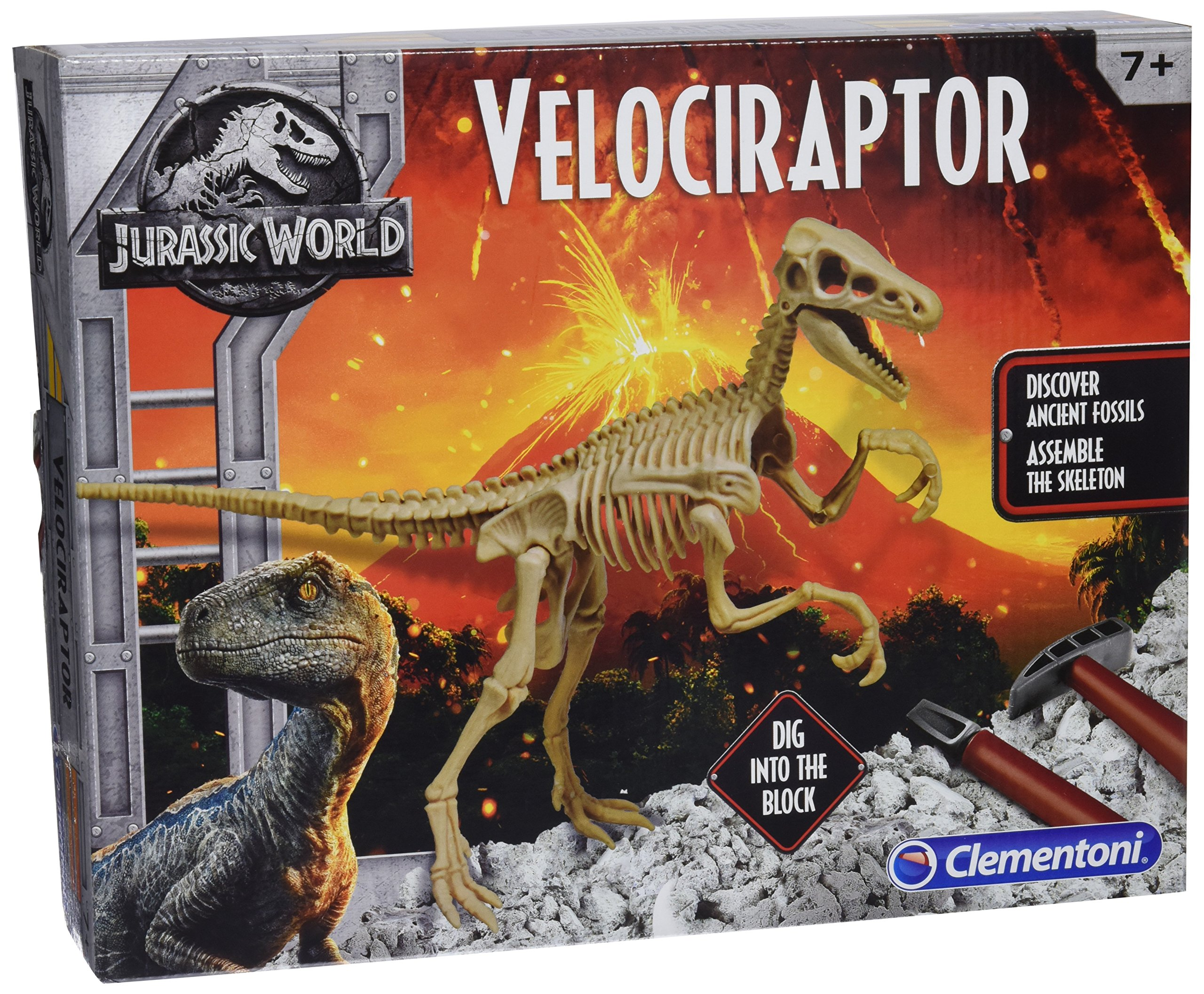 Clementoni 19063 Jurassic World Velociraptor Dig Set, Multicolored, Norme