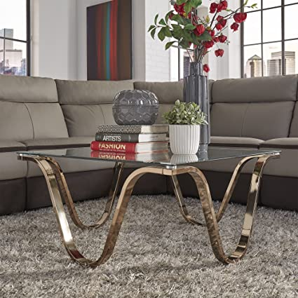 Inspire Q Reverberate Glass Top Champagne Gold Metal Occasional Tables  Modern Gold/Coffee Table Only