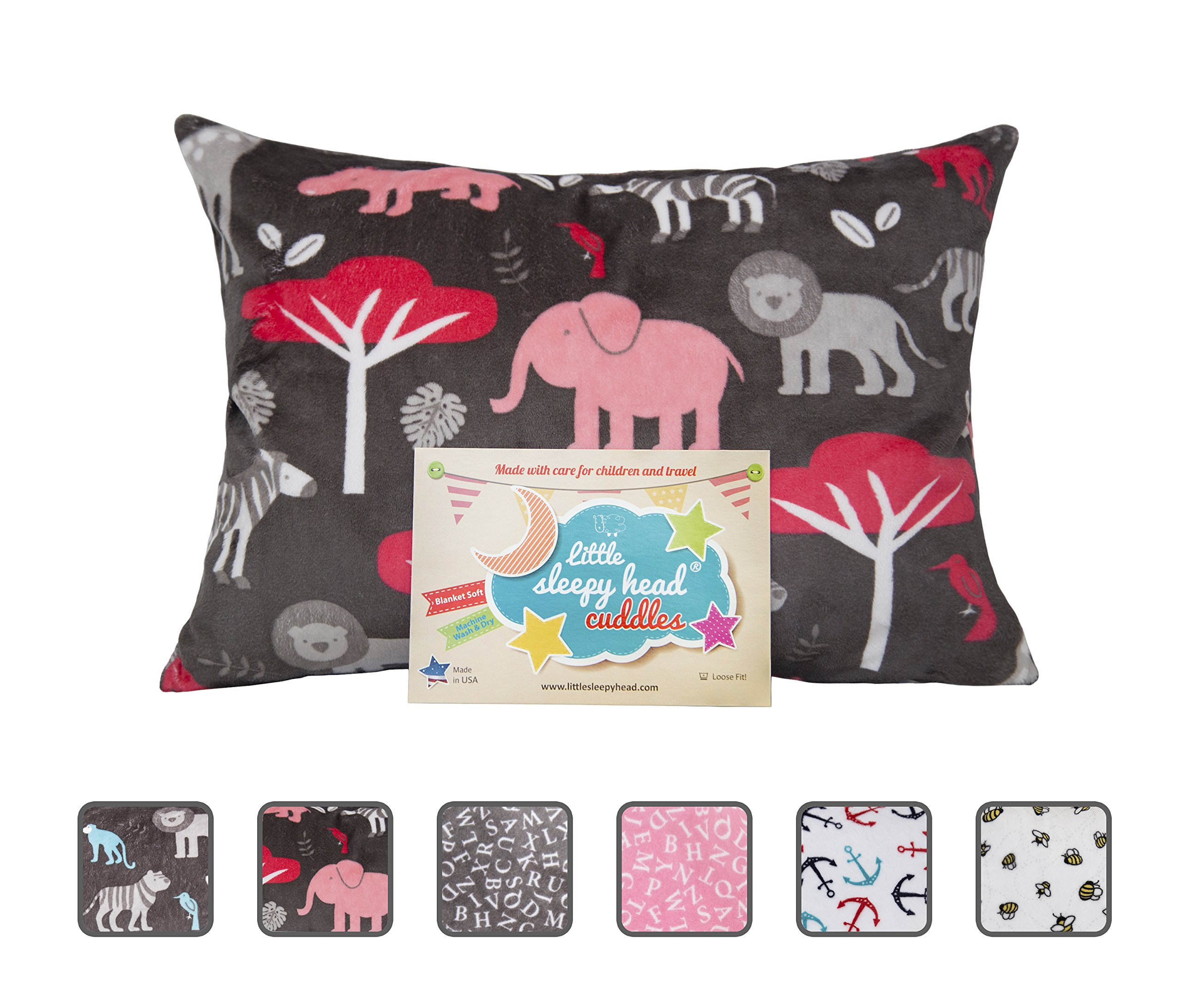 Little Sleepy Head Toddler Pillowcase - Cuddle Collection - Jungle Pink, 13 X 18