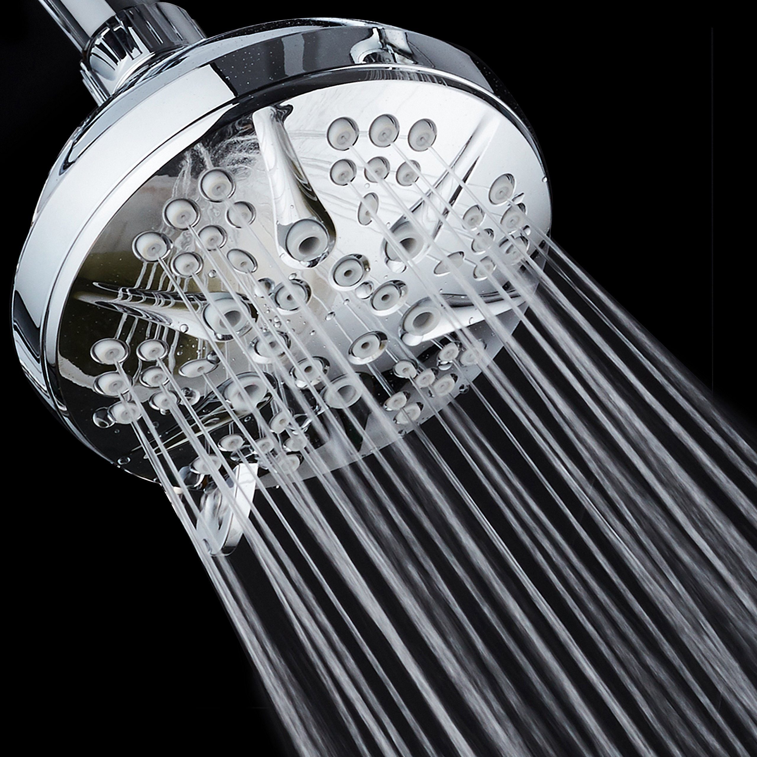 NOTILUS Giant High-Pressure 6-setting 4.3'' Face Modern Luxury Spa Shower Head - Solid Brass Metal Connection Nut, Angle-Adjustable Ball Joint, Anti-Clog Jets, All-Chrome Finish, by HotelSpa (Image #2)