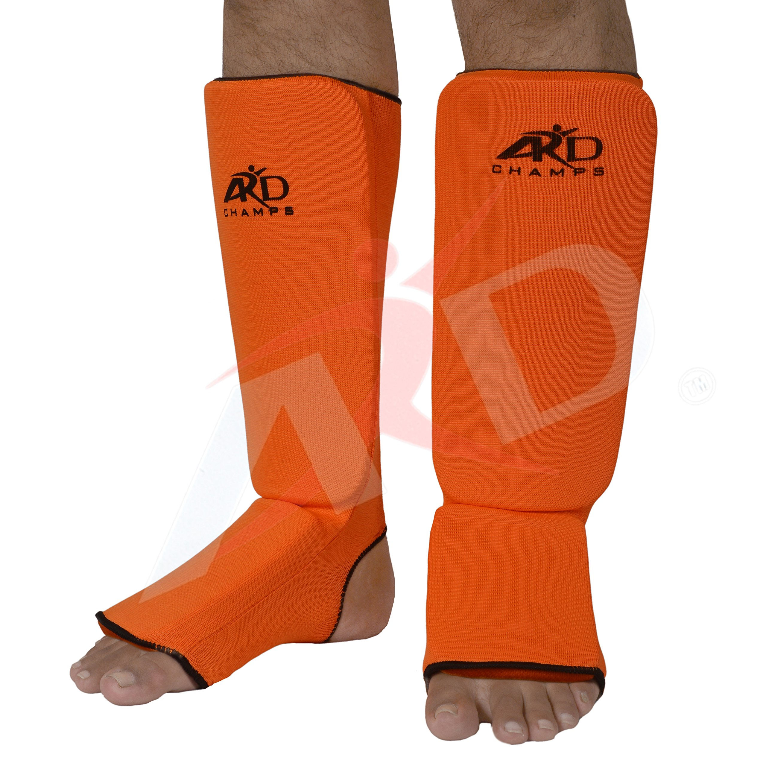 ARD Shin Instep Protectors, Guards Pads Boxing, MMA, Muay Thai (Orange, Medium) by ARD-Champs
