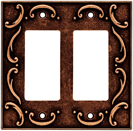 BRAINERD 64260 French Lace Double Decorator Wall Plate / Switch Plate / Cover Sponged Copper  sc 1 st  Amazon.com & BRAINERD 64260 French Lace Double Decorator Wall Plate / Switch ...