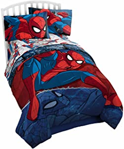 Marvel Spiderman Burst Twin Comforter - Super Soft Kids Reversible Bedding features Spiderman - Fade Resistant Polyester Microfiber Fill (Official Marvel Product)