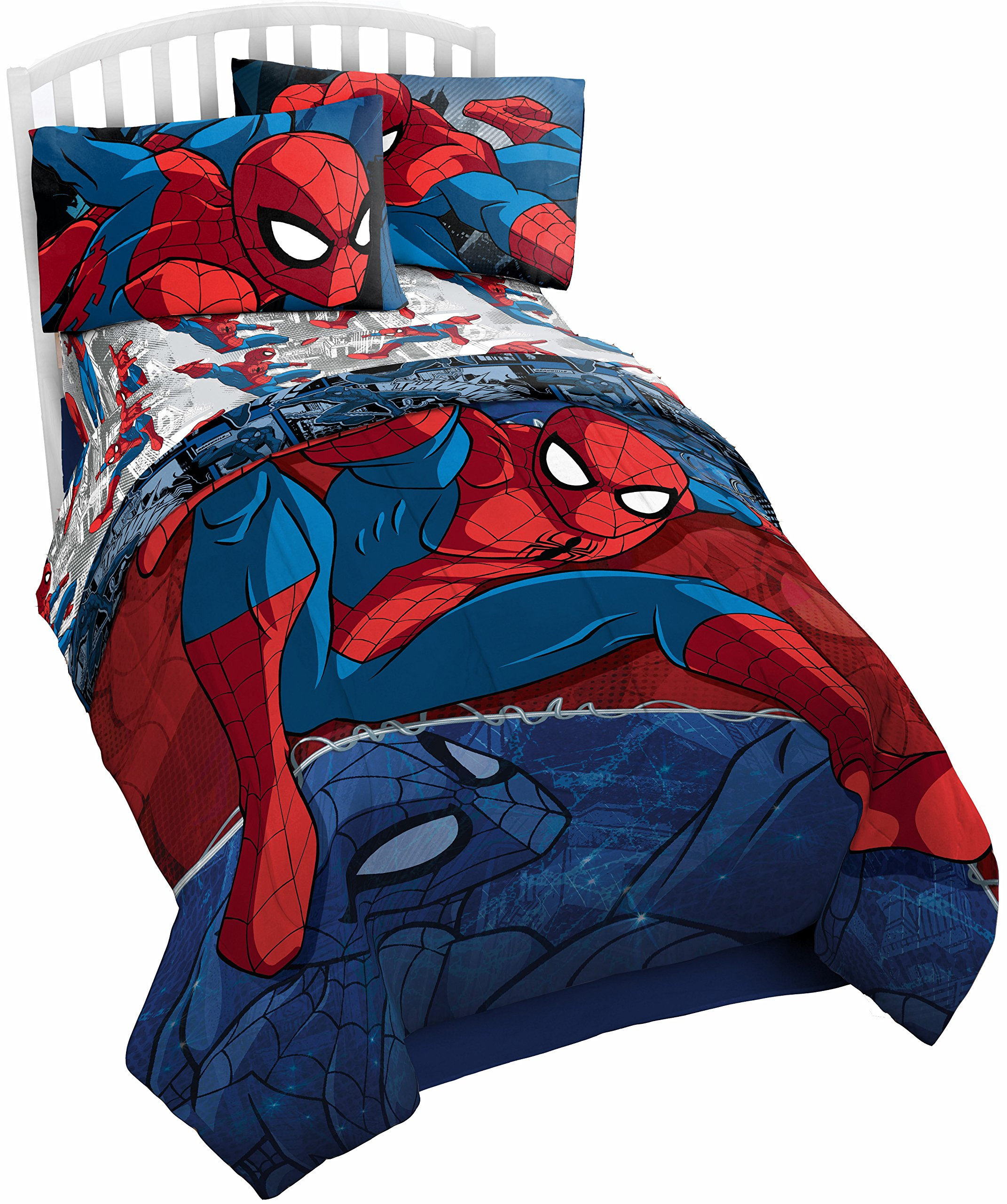 Marvel Spiderman Burst Twin Comforter - Super Soft Kids Reversible Bedding features Spiderman - Fade Resistant Polyester Microfiber Fill (Official Product)