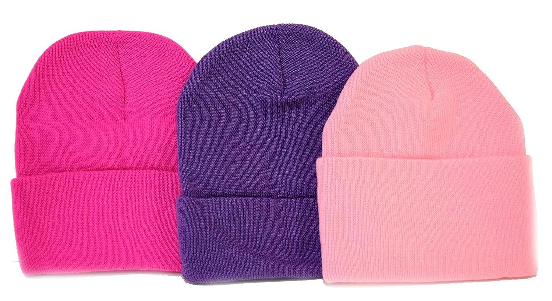 3-Pack Knit Beanies / Hot Pink, Lt Pink, & Purple