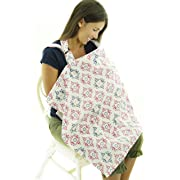 Nursing Cover for Breastfeeding – Red & Blue Star Pattern Feeding Apron - Breathable Cotton