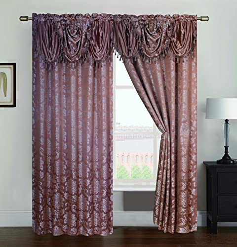 RT Designers Collection Wilton Jacquard Rod Pocket Single Curtain Panel, Gold