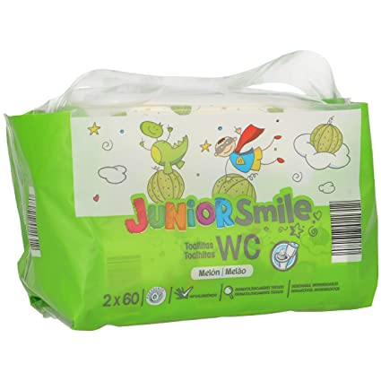 JUNIORSMILE toallitas wc aroma melón 120 uds (2 paquetes de 60uds)
