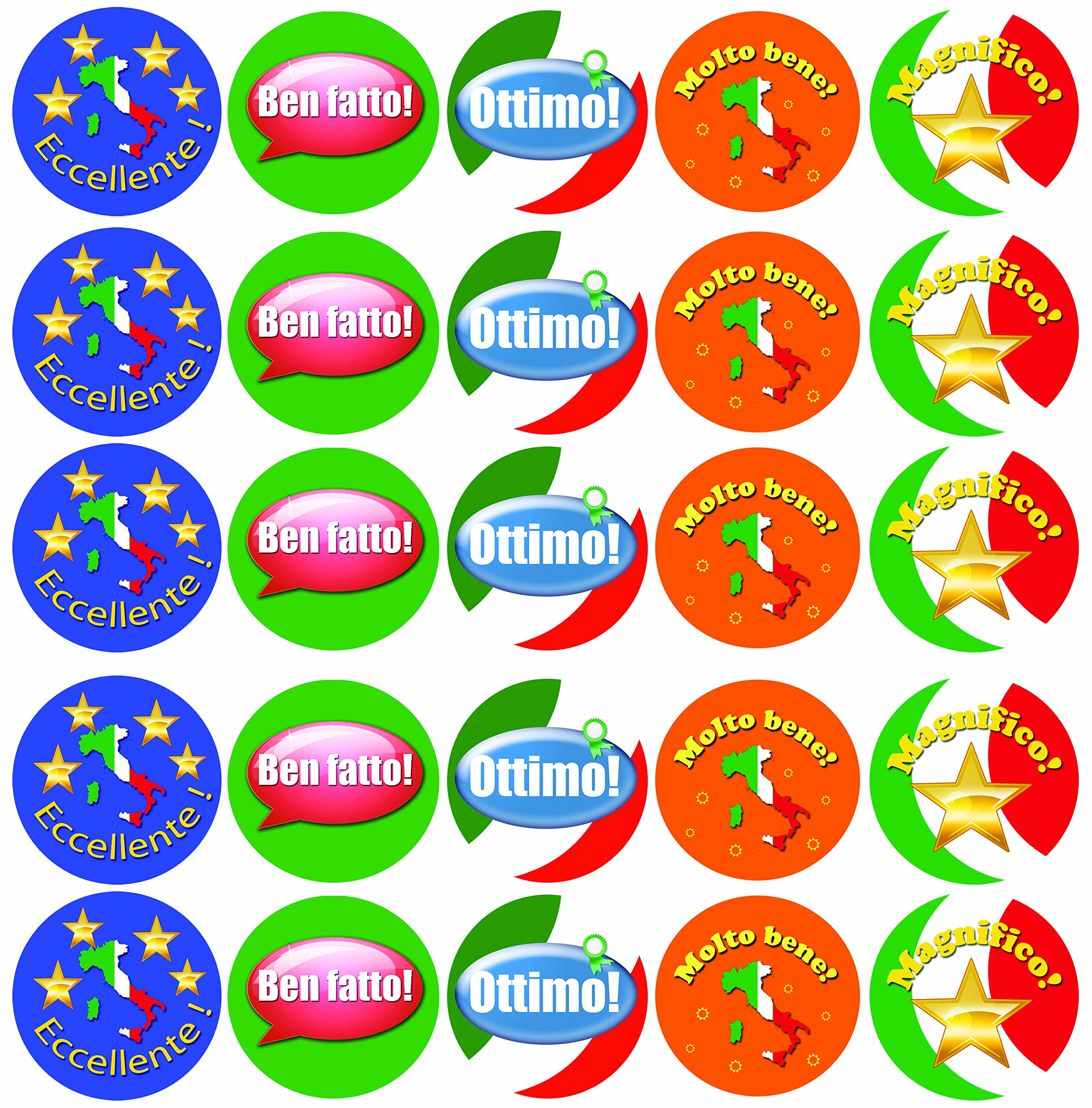 Italian Language Assorted Reward Stickers - Merit Labels for Teachers - Pack of 100