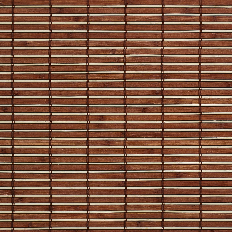 Liedeco Rollo Holz mit Seitenzug, Holzrollo für Fenster und Tür braun B 160 cm x L 17...