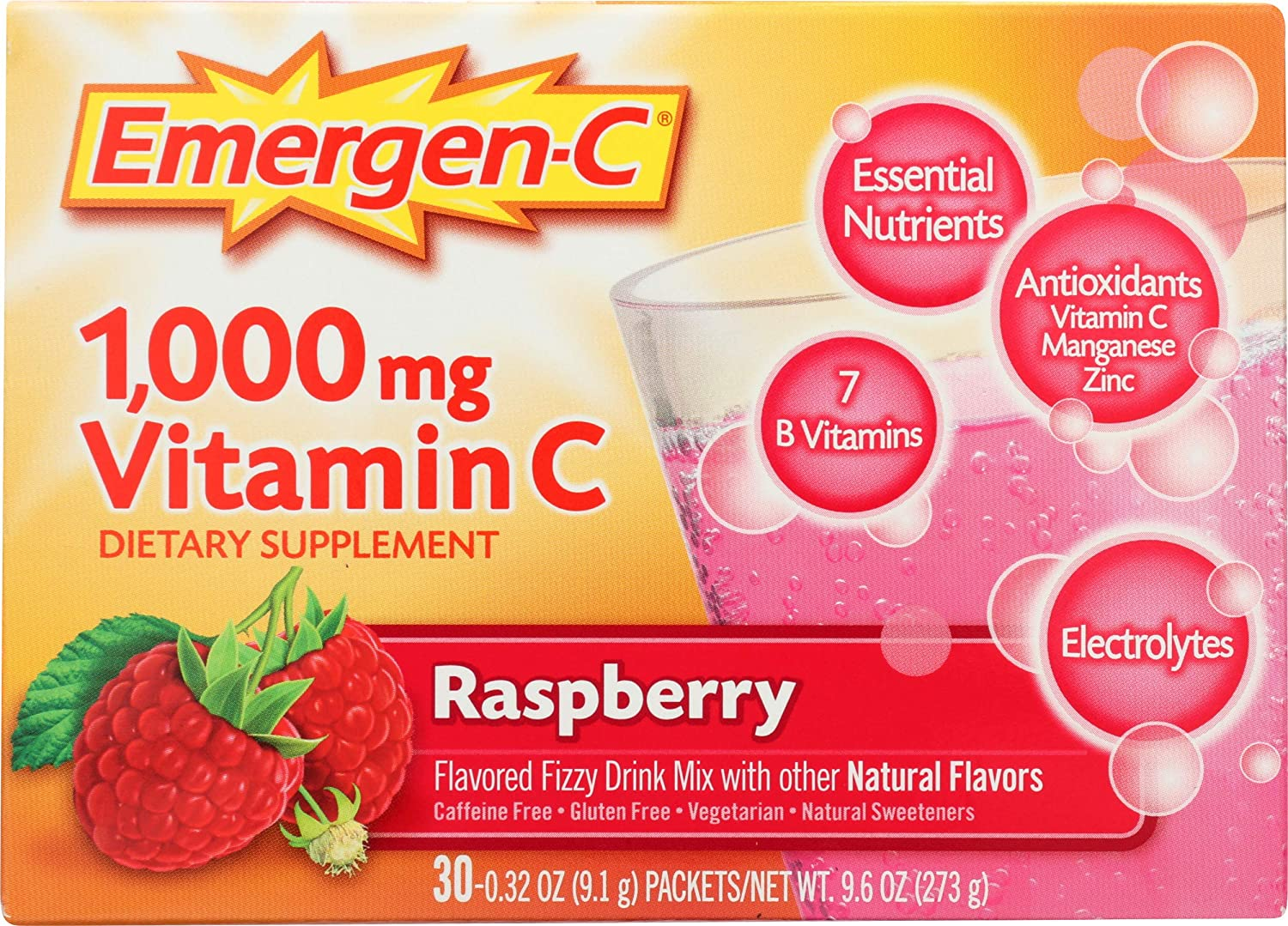 Emergen-C 1000mg Vitamin C Powder, with Antioxidants, B Vitamins and Electrolytes, Immunity Supplements for Immune Support, Caffeine Free Fizzy Drink Mix, Raspberry Flavor - 30 Count/1 Month Supply: Health & Personal Care