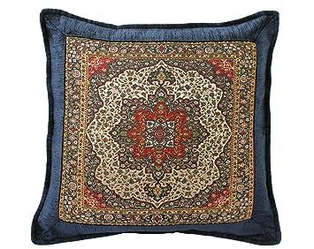 Züleyha Kissen Kissenbezug Kissenhülle Sitzkissen Cushion Cover orientalisch osmanisch (Marine 083-selc, 40 x 40 cm)