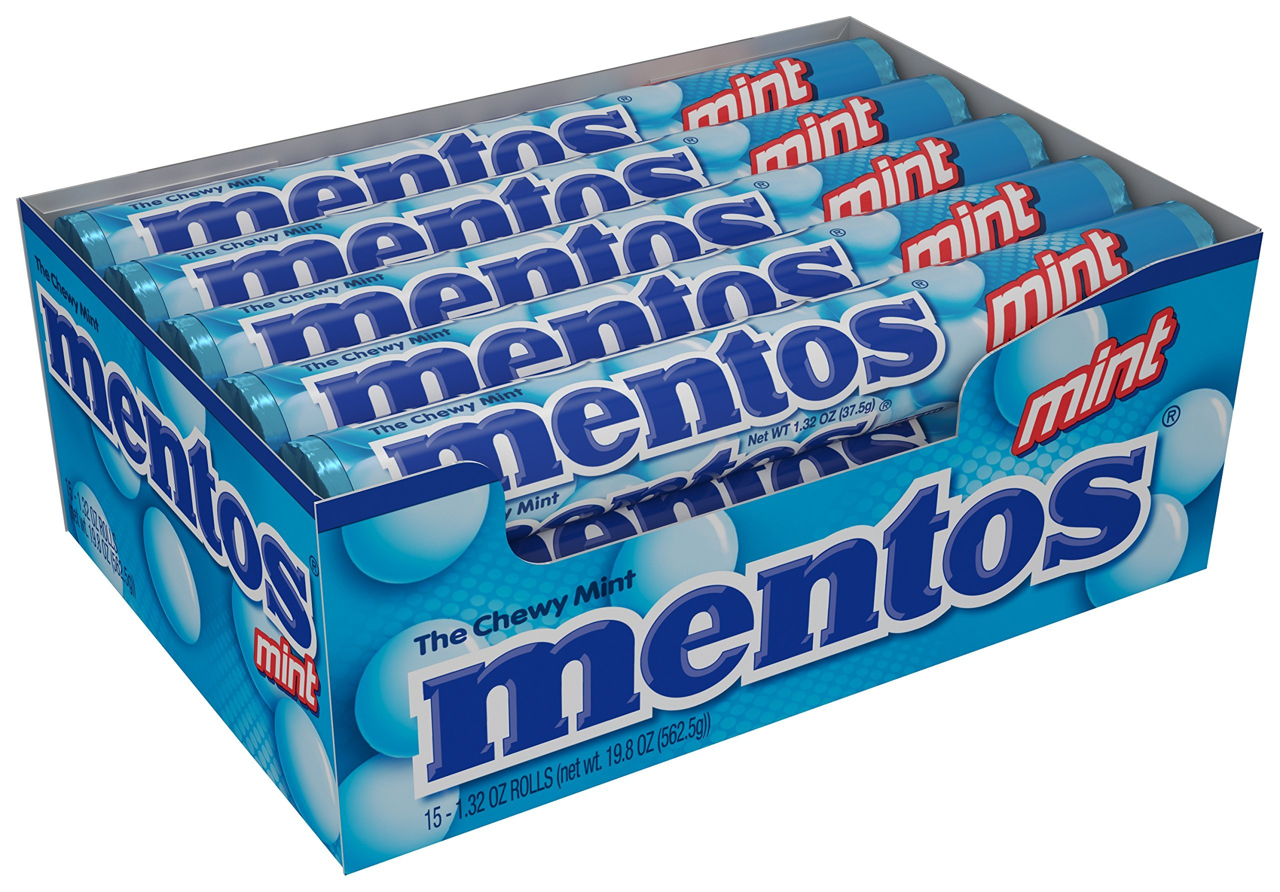 Mentos Chewy Mint Candy Roll, Mint, Easter Basket Candy, 1.32 ounce/14 Pieces (Pack of 15)